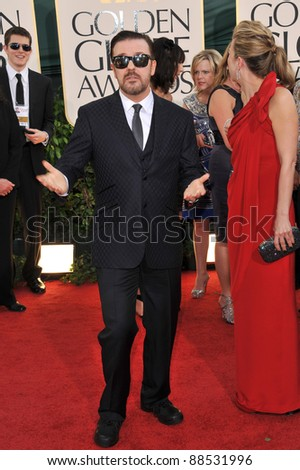 Ricky Gervais & Jane Fallon at the 68th Annual Golden Globe Awards at the Beverly Hilton Hotel. January 16, 2011  Beverly Hills, CA Picture: Paul Smith / Featureflash - stock photo