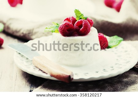 Ricotta with berry and mint, selective focus and toned image - stock photo