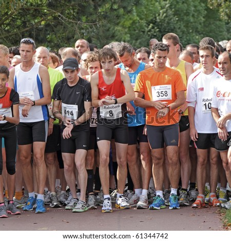 RIDDERKERK, THE NETHERLANDS - SEPT 18: The start of  21st Rabo Oosterparkloop from 15 km, 10km and 6.3 km circuit for all ages on Sept 18, 2010 in Ridderkerk, The Netherlands. - stock photo