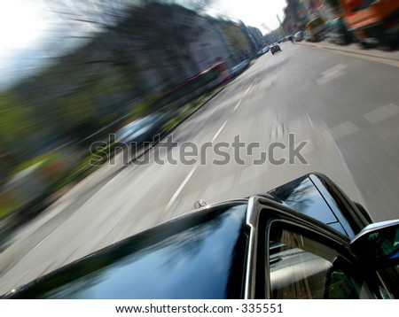 ride in a classic Mercedes-Benz 280S through the city of Cologne - stock photo