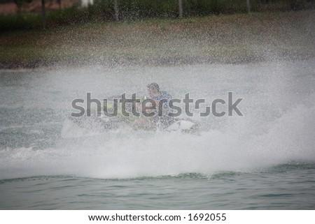 ride on a jet-ski - stock photo