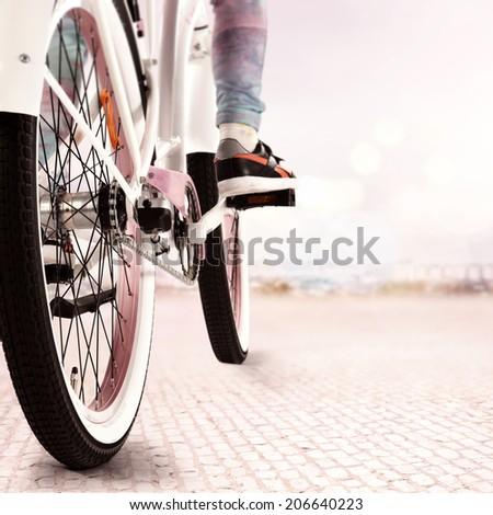 ride on the bike  - stock photo