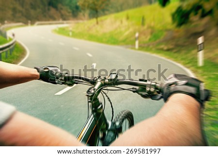 Rider on a bicycle - stock photo