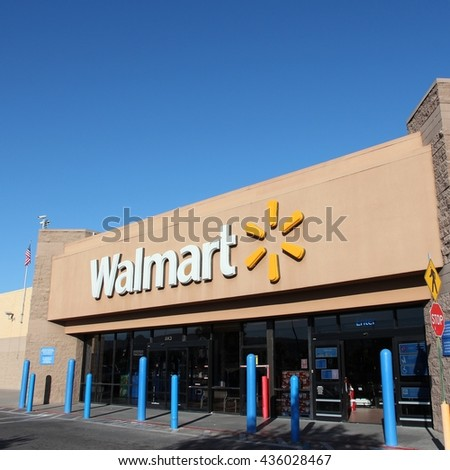 RIDGECREST, UNITED STATES - APRIL 13, 2014: Walmart store in Ridgecrest, California. Walmart is a retail corporation with 8,970 locations and revenue of US$ 469 billion (FY 2013). - stock photo