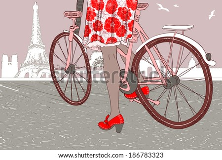 Riding a bike. Raster version  - stock photo