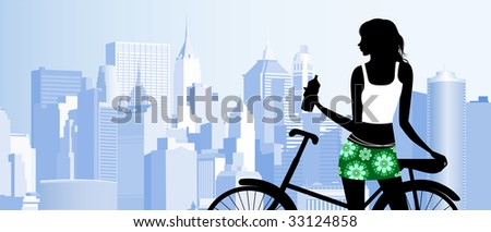 Riding a bike. Raster version of vector illustration. - stock photo