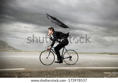 riding businessman - stock photo
