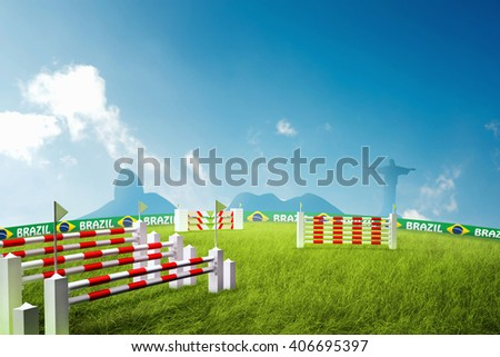 Riding obstacles jump 3D Illustration - stock photo