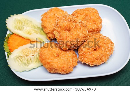 ried shrimp meat with sweet sauce - stock photo