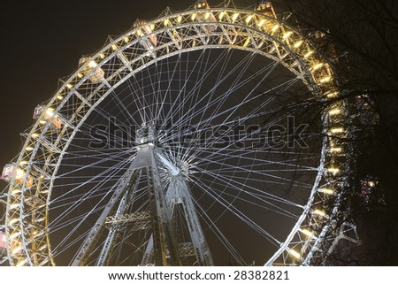 Riesenrad giant ferris wheel is over 100 years old. - stock photo