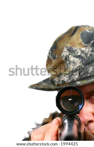Rifle Aimed at Camera - stock photo