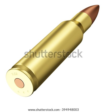 Rifle Bullet isolated on white background. Military Weapons Concept. - stock photo