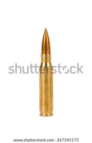 Rifle bullet on white background - stock photo