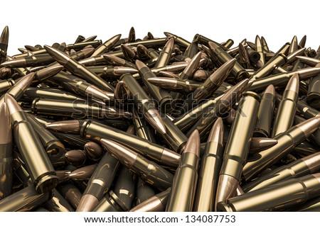 Rifle bullets pile - stock photo