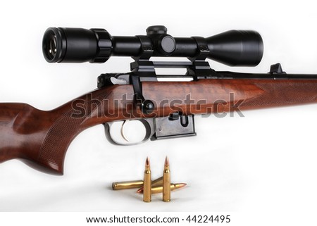 Rifle, calibre 223 Rem, equipped with an optical sight, with the closed shutter and the inserted holder. It is intended for hunting for wild animals of the average size - stock photo
