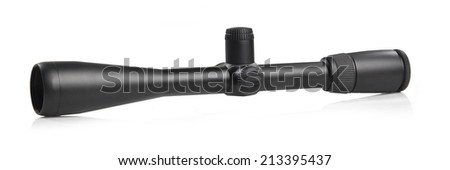Rifle scope for hunting on white - stock photo