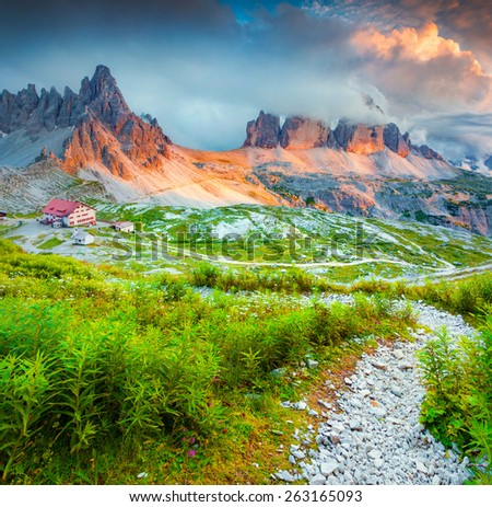 Rifugio Lacatelli in National Park Tre Cime di Lavaredo. Dolomites, South Tyrol. Location Auronzo, Italy, Europe. - stock photo