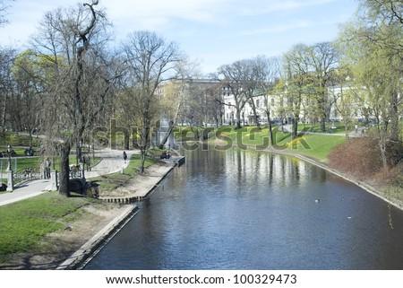 Riga Canal at spring - stock photo