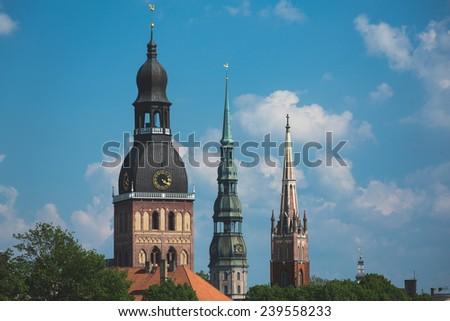 Riga Cathedral, St. Peter's Church, The Factory Church of St. Savior, Riga, Latvia - stock photo