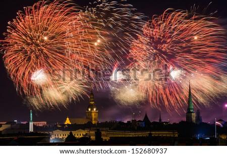 Riga City Festival 2013 - fireworks over Riga, Latvia  - stock photo