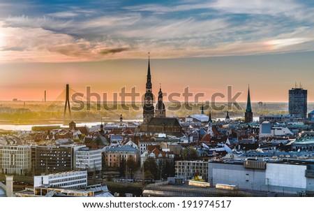 Riga in 32bit HDR image - stock photo