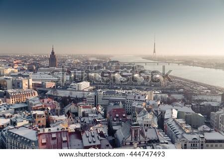 RIGA, LATVIA - DECEMBER 30 2015: Latvias Capital - Riga from a bird's eye view - stock photo