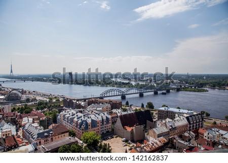 RIGA, LATVIA - JUNE 2013 - Panorama of Riga. - stock photo