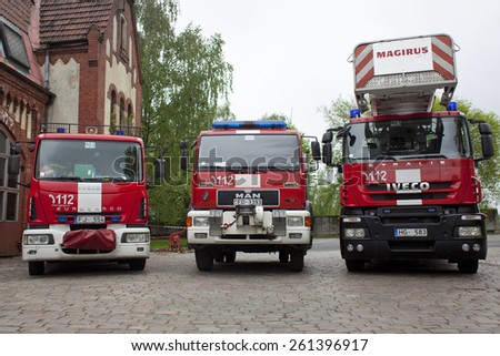 RIGA, LATVIA - MARCH 10, 2015: Fire Engines of the Riga Fire Department, Latvia - stock photo