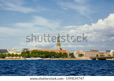 Riga view on old city from the river - stock photo