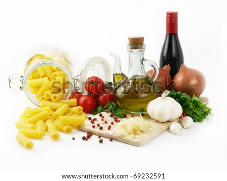 Rigatoni pasta isolated and ingredients for cooking - stock photo