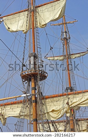 Rigging of a historic Russian tall ship in the port of Hamburg in Germany - stock photo