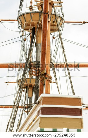 Rigging on the ancient tall ship. - stock photo