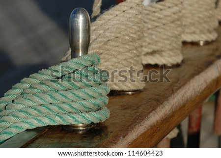 rigging sailing ship - stock photo