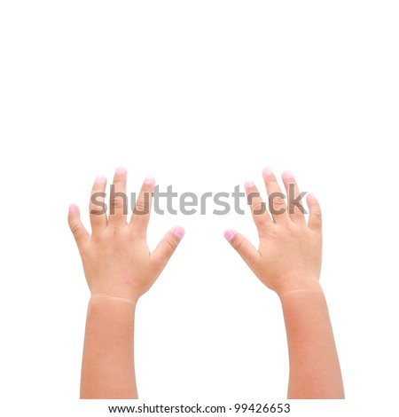 Right and left hands calling for help on white background - stock photo