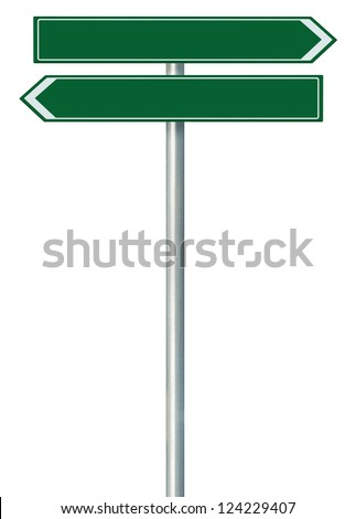 Right and left road route direction pointer this way sign, blank empty green isolated roadside signage, white traffic arrow frame roadsign, grey pole post - stock photo