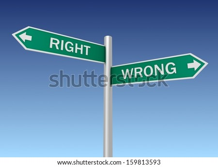 Right and wrong - stock photo
