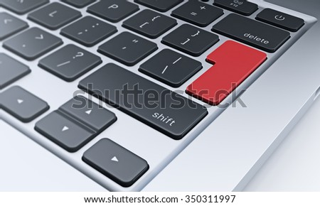 right fragment of a computer keyboard with red enter key, concept of work and communication - stock photo