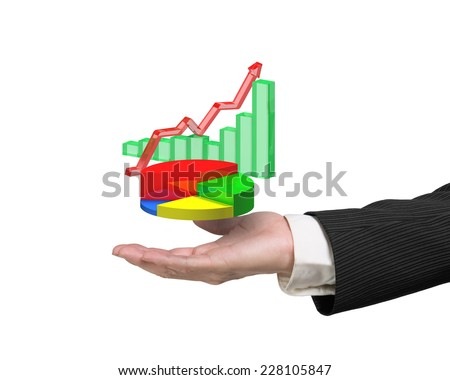 right hand holding 3d infographics overlapped isolated on white background, including colorful pie chart, green bar chart, red trend line - stock photo