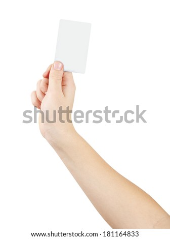 Right hand holding white empty card, isolated on white, clipping path - stock photo