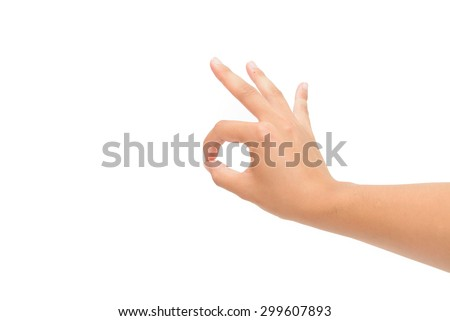 Right hand OK sign isolated on white background - stock photo