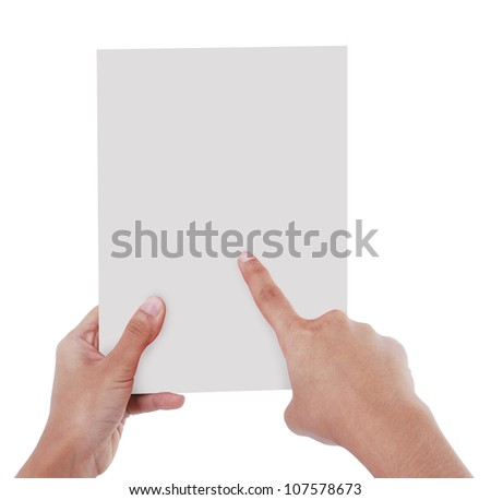 right hand pointed to a card held by the left hand - stock photo