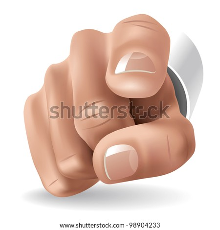 Right Hand with Forefinger Pointing on Viewer. Rasterized Version - stock photo