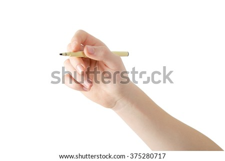 Right hand with marker writing in air, reverse view, isolated on white, clipping path - stock photo