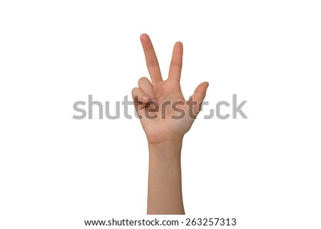 Right Hand Young Lady's Three Fingers  - stock photo