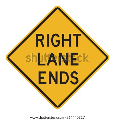 Right lane ends - stock photo