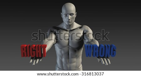 Right or Wrong as a Versus Choice of Different Belief - stock photo