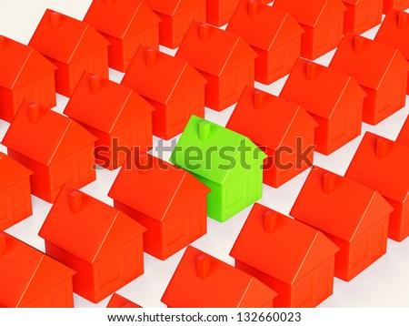 Right realty choice: special green house among group of red. On white - stock photo
