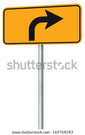 Right turn ahead route road sign perspective, yellow isolated roadside traffic signage, this way only direction pointer, black arrow frame roadsign, grey pole post - stock photo