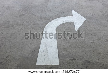 right turn driving of traffic signs - stock photo
