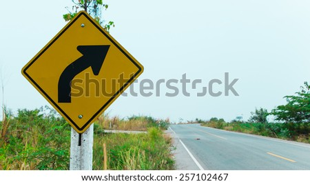 Right Turn Sign. - stock photo